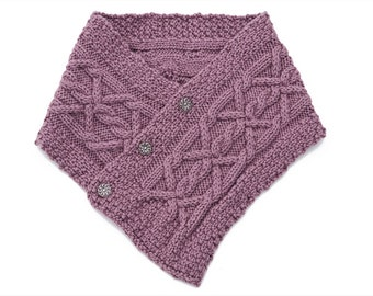 Dusty Plum Purple Crossover Cable Cowl Merino-Cashmere Blend