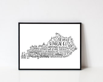 Hand lettered CENTRAL CITY Kentucky Word Art Print // 8x10
