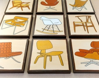 Chair Wall Art, SHIPPING INCLUDED, Mid Century Design Wall Decor, Iconic Chairs, Original Paintings on Wood, Mid Century Modern Wall Art