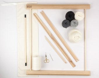 """20"""" Frame Loom Weaving Kit / Everything you need to make your own woven wall hanging Grey"""