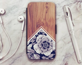 Wood Floral iPhone 6 Wallet Case, Wood Floral iPhone 6s Wallet Case, iPhone 5s Wallet Case, iPhone 7 Wallet Case, iPhone SE Wallet Case