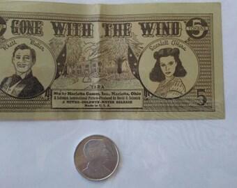 Vintage 1940 Gone With The Wind Collectible Marietta Games Rhett Butler/Clark Gable Token and Scarlett O'Hara Rhett Paper Money Bill GWTW