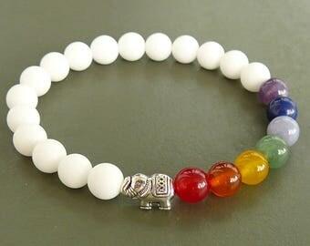 7 Chakra Bracelets Elephant Bracelet White Yoga bracelet Elephant jewelry Gemstone Meditation bracelet Healing Bracelet for Women yoga gift