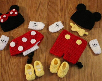 Mickey and Minnie Mouse set~ crochet Mickey and Minnie~ twins set~ Disney photo prop
