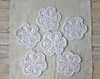 6 Crochet Doily Set, Crochet coasters, Crochet Cup Pad, Crochet Doily set, White Crochet Doily, Kitchen Decoration, Table decoration,
