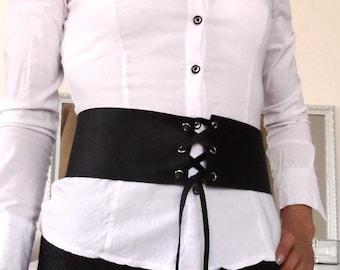Extravagant Real Leather Belt, costume accessory, Boho Belt,Obi Belt,Gothic Lolita black,tie belt,Waist Belt,Leather corset,Halloween witch
