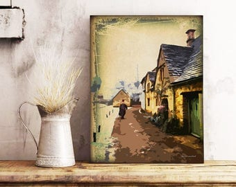 Vintage Painting, Digital Mixed Media, Cityscape, Cityscape Art, Wood Panel Painting, Muted Art, Wall Art Prints