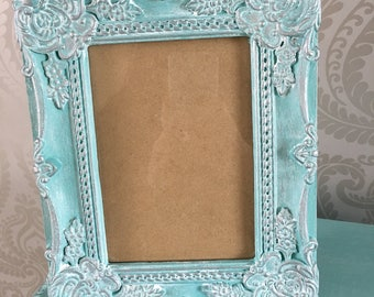 "Stunning ""Tiffany"" Blue and Silver Ornate Photo Frame 7 x 5"