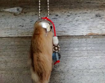 Natural rabbit's foot keychain