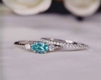 Oval Apatite Ring Set 3 Stone Engagement Ring Wedding Ring Set Promise Ring Present