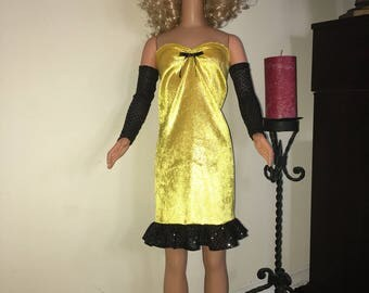 Yellow/gold foil dress for my size Barbie