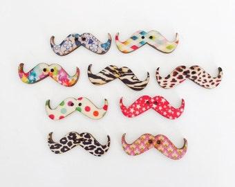 CLOSING SALE 30 pcs Mustache Buttons, Mustache Shape Wooden Buttons, Embellishment Wood Buttons, Bout 026