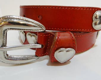 Vintage Red Belt Western Silver Heart Conchos Womens Leather Size M Girls Mexican Cowgirl Cowboy