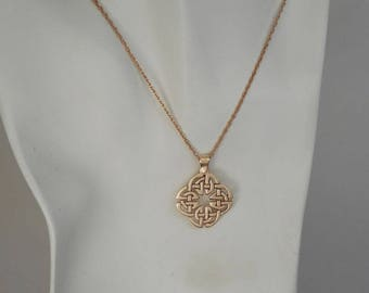 Bronze Celtic Knot Pendant Made in Montana Fine Jewelry Icovellavna Quaternary Knot Necklace 8th Anniversary Gift for Wife Birthday Gift