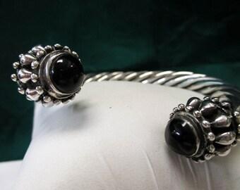 Solid Sterling Silver Black Onyx Bracelet, Cuff Bracelet, Cabochon Oynx