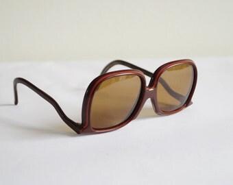 Sun Glasses Vintage Drop Temple Glasses Vintage Sunglasses Upside Down Dark Eyeglasses Reverse Temple Shades Brown Plastic Frames