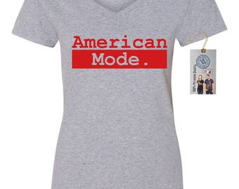 American Mode Vintage 4th of July Womens Short Sleeve V Neck T - Shirt Top