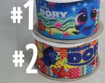 "3"" Blue Fish & Clown Fish Grosgrain Ribbon"