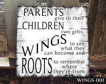 WINGS: Sign for parents, Wooden Sign, Home Decor, Sign for the Home, Gift for Mom, Mother's Day Gift, Gift for parent, Birthday gift for Mom
