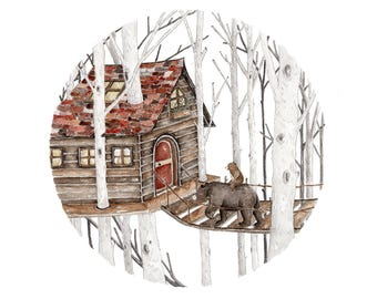 Amongst the Trees- Fine Art A4 Giclee Print
