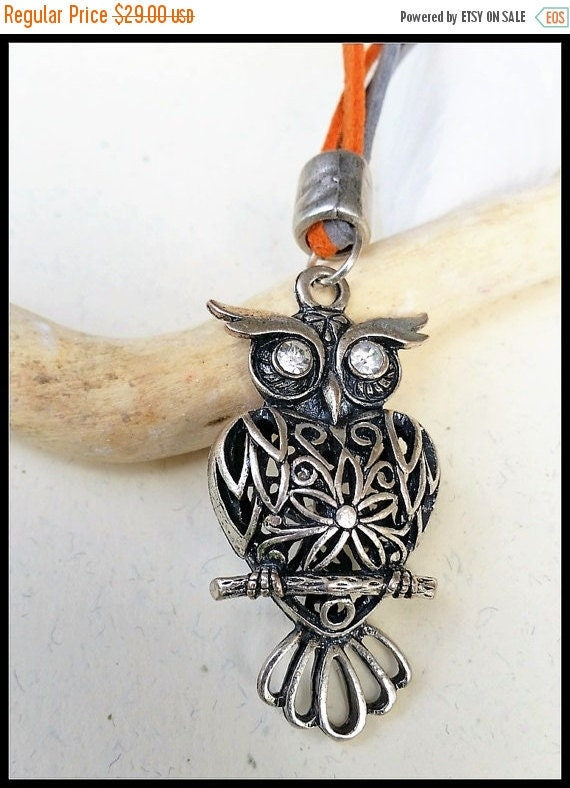 Leather Owl Necklace, Metal Owl Pendant, Owl Leather Jewelry, Owl Statement Pendant, Owl Accessories, Funky Owl Pendant