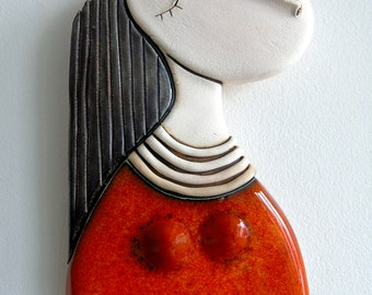 Girl with orange dress - Original handmade ceramic art tile