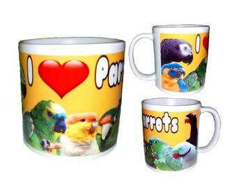 I Love Heart Parrots 11oz White Coffee Mug