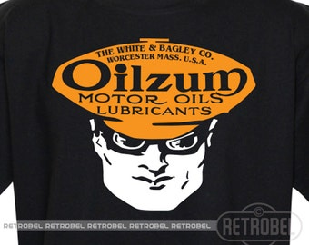 T-Shirt OILZUM, Black, Motor oil, Retro,Father's day gift, 100% Cotton, Graphic Tee,