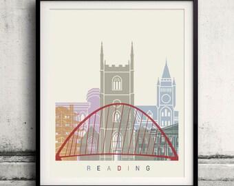 Reading skyline poster - Fine Art Print Landmarks skyline Poster Gift Illustration Artistic Colorful Landmarks - SKU 2335