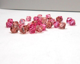 35 Rose Mix Swarovski Bicone, Blush, Rose, Light Rose, Vintage Rose, 6mm, Swarovski, Bicone, Bead, Crystals, Supply, Jewelry Supply