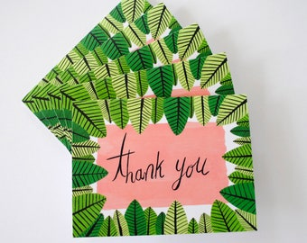 Thank You green leaves greeting cards - hand painted set of five 5.5 x 4