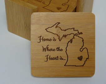 Personalized Michigan Square Wooden Coasters Laser Engraved(6)
