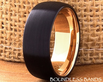 Tungsten Ring Wedding Ring Rose Gold Black And Rose Mens Tungsten Ring Mens Wedding Ring 9mm His Hers Comfort Fit Anniversary Promise Unisex