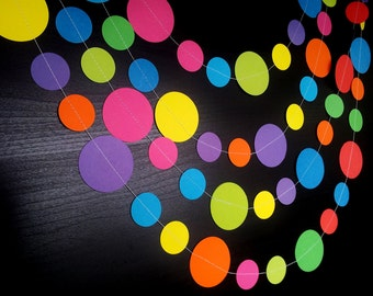 100s & 1000s Rainbow Paper Circle Garland - Nursery, Party, Shower, Children's Room decoration.