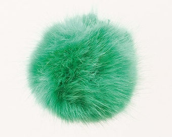 Pom Pom fake fur 10 cm diameter in colour green for crazy bobble hats as keyring or for your mirror in the car pompom multipurpose