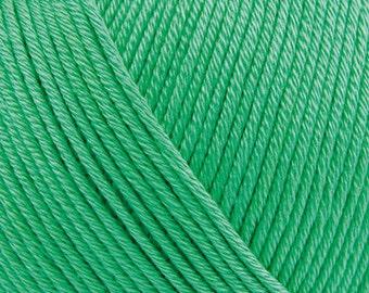 Mercerised cotton yarn Essentials Cotton DK emerald green Rico Design knitting crochet mercerised with a sheen 50 g 130m code 45