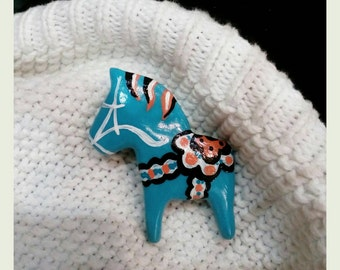 Dala horse inspired pin Scandinavian brooch Hand painted jewelry Swedish horse