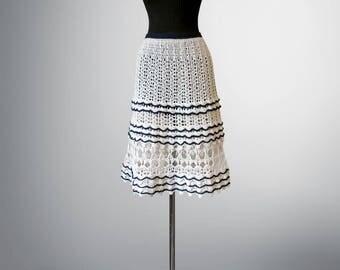 Crochet skirt Sally. White-coloured organic cotton crochet skirt. Made to order. Free shipping.