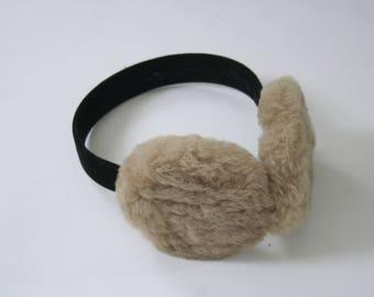 Vintage Ear Muffs - Brown - Black - Fuzzy & Warm