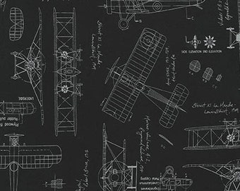 Aviation Fabric / Vintage Blueprints / Airplane Blueprint Fabric, Blueprints Robert Kaufman 15675 2 Black  / Fat Quarters and By The Yard