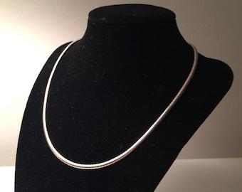 "Vintage Omega Sterling Silver Necklace Heavy 17"""