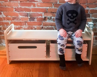 School Bench, Kid's Bench, Wooden Bench, Children's Bench, Storage Bench,  Low Hallway Bench, Day Care Bench, with or without storage bins