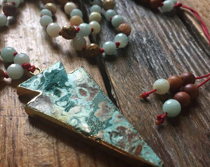 108 Bead Partially Handknotted Spiritual Junkies Sandalwood, Amazonite, Picture Jasper + Ocean Jasper Arrowhead Yoga and Meditation Mala