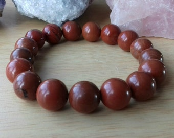 Red Jasper Energy Charged Crystal Stretch Bracelet - Crystal Healing, Root Chakra, Grounding, Stability, Security, Physical Health, Energy