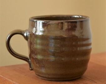 Warm Olive Pottery Mug, Cocoa Mug by Fire Garden Pottery. 10 oz.