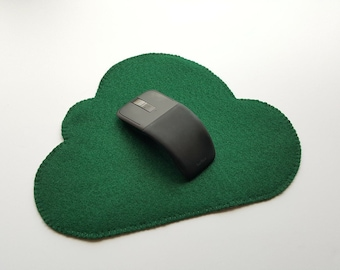 Kelly Green Felt Mousepad, Cloud Shape Mouse Pad, Non-slip Mousepad, no slip, Dark Green Mousepads, No Slippage Mousepad, Dark Green Felt