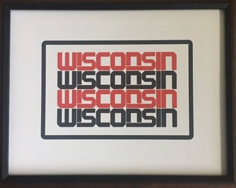 Badgers, Wisconsin, Typography, Red, Black, Print