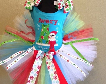 Elf On The Shelf Christmas Tree Tutu , Top, Tutu and Bow On Headband Ages 1-6, Toddler, Big Girl Sizes 6m-6yr - Elf On The Shelf
