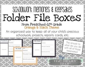 School Memory Box - Preschool-12th Grade File Folder Covers - Pink and Gray Theme