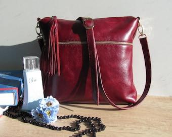 Leather bag Shoulder bag Women fringe bag Leather purse Burgundy Handbag Gift for sister Birthday Gift for mom Gift for her Boho Crossbody